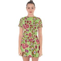 Flower Bomb 6 Drop Hem Mini Chiffon Dress