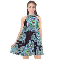 Concentric Circles A Halter Neckline Chiffon Dress