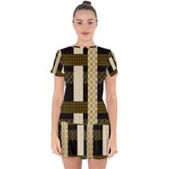 Art-stripes-pattern-design-lines Drop Hem Mini Chiffon Dress