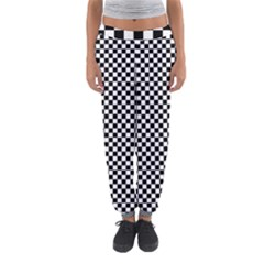 Black And White Checkerboard Background Board Checker Women s Jogger Sweatpants by Sapixe