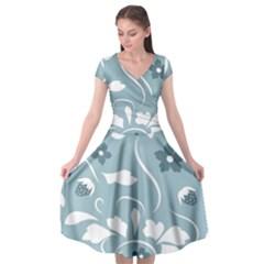 Folk Flowers Pattern Floral Surface Design Seamless Pattern Cap Sleeve Wrap Front Dress