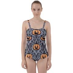 Pumpkin Pattern Twist Front Tankini Set by InPlainSightStyle
