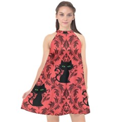 Cat Pattern Halter Neckline Chiffon Dress