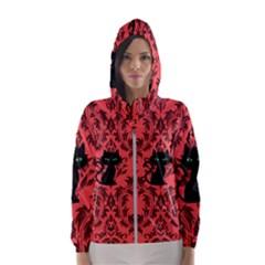 Cat Pattern Women s Hooded Windbreaker