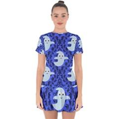 Ghost Pattern Drop Hem Mini Chiffon Dress