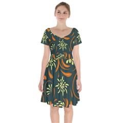Folk Flowers Pattern Floral Surface Short Sleeve Bardot Dress by Eskimos