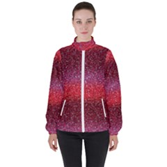 Red Sequins Women s High Neck Windbreaker by SychEva