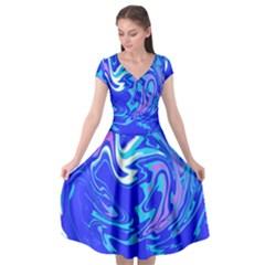 Blue Blue Sea Cap Sleeve Wrap Front Dress by kiernankallan