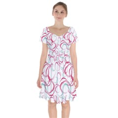 Red And Turquoise Stains On A White Background Short Sleeve Bardot Dress by SychEva