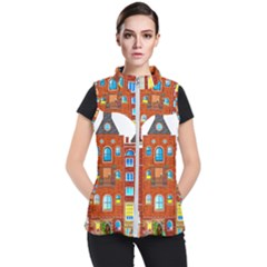 Town-buildings-old-brick-building Women s Puffer Vest by Sudhe