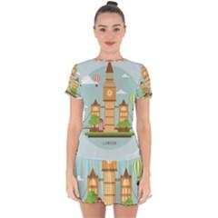 London-watch-landmark-england Drop Hem Mini Chiffon Dress