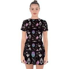 Pastel Goth Witch Drop Hem Mini Chiffon Dress