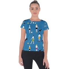 Girls Walk With Their Dogs Short Sleeve Sports Top  by SychEva