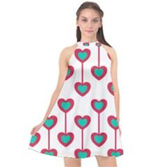 Red Hearts On A White Background Halter Neckline Chiffon Dress  by SychEva