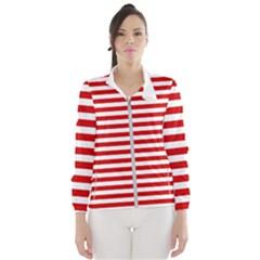 Red And White Stripes Pattern, Geometric Theme Women s Windbreaker by Casemiro