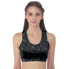 Turquoise Abstract Flowers With Splashes On A Dark Background  Abstract Print Sports Bra