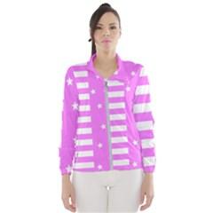 Saturated Pink Lines And Stars Pattern, Geometric Theme Women s Windbreaker by Casemiro