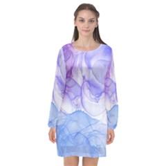 Purple And Blue Alcohol Ink  Long Sleeve Chiffon Shift Dress
