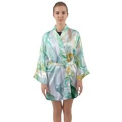 Green And Orange Alcohol Ink Long Sleeve Satin Kimono