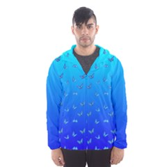 Butterflies At Blue, Two Color Tone Gradient Men s Hooded Windbreaker by Casemiro