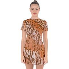 Leopard-knitted Drop Hem Mini Chiffon Dress