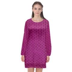 Leatherette 5 Purple Long Sleeve Chiffon Shift Dress
