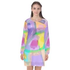 Long Sleeve Chiffon Shift Dress