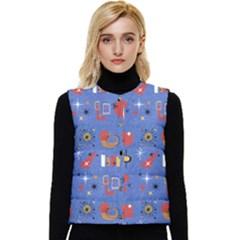 Blue 50s Women s Short Button Up Puffer Vest