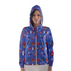 Blue 50s Women s Hooded Windbreaker by InPlainSightStyle