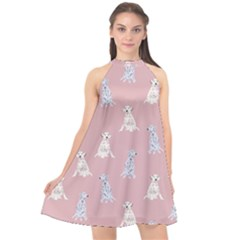 Dalmatians Favorite Dogs Halter Neckline Chiffon Dress