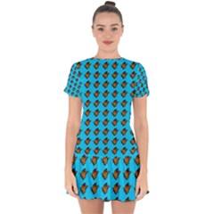 Monarch Butterfly Print Drop Hem Mini Chiffon Dress