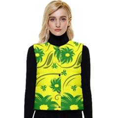 Folk Flowers Pattern  Women s Short Button Up Puffer Vest