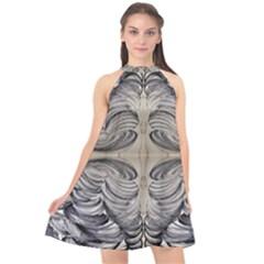 Mono Repeats Halter Neckline Chiffon Dress