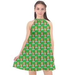 Girl Green Halter Neckline Chiffon Dress  by snowwhitegirl