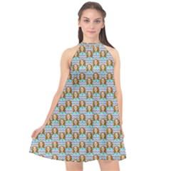 Girl Blue Halter Neckline Chiffon Dress  by snowwhitegirl