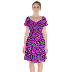 Pink And Green Leopard Spots Pattern Short Sleeve Bardot Dress