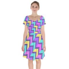 Arrowhead Abstract Oblique Rectangles Short Sleeve Bardot Dress