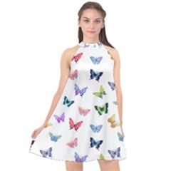 Cute Bright Butterflies Hover In The Air Halter Neckline Chiffon Dress