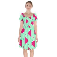 Cute Seamless Watermelon Pattern Short Sleeve Bardot Dress