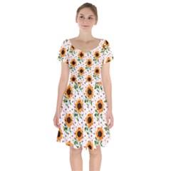 Sunflower Pattern Merchandise Ready Short Sleeve Bardot Dress
