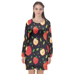 Sliced Apple Pattern Long Sleeve Chiffon Shift Dress