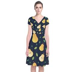 Sliced Pear Pattern Short Sleeve Front Wrap Dress