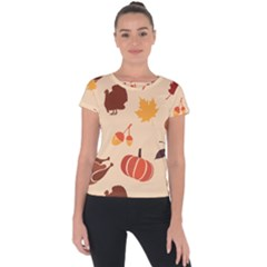 Thanksgiving Seamless Pattern Short Sleeve Sports Top