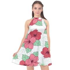 Floral Hibiscus Pattern Design Halter Neckline Chiffon Dress