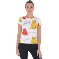 Colorful Cat Pattern Short Sleeve Sports Top