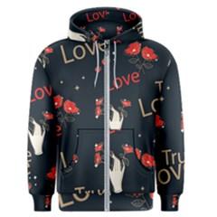 Valentine s Love Pattern Design Men s Zipper Hoodie