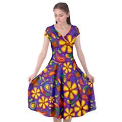 Gay Pride Rainbow Floral Paisley Cap Sleeve Wrap Front Dress by VernenInkPride