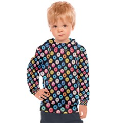 Multicolored Donuts On A Black Background Kids  Hooded Pullover by SychEva