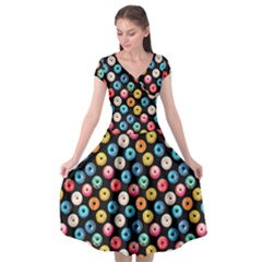 Multicolored Donuts On A Black Background Cap Sleeve Wrap Front Dress