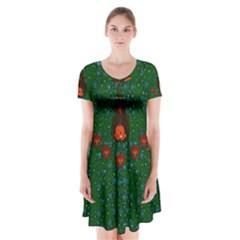 Halloween Pumkin Lady In The Rain Short Sleeve V-neck Flare Dress